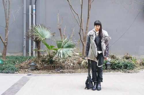 Wearing: Balenciaga aviator shearling; Undercover cardigan; Kapital shirt; Junya Watanabe trousers; Ann Demeulemeester boots