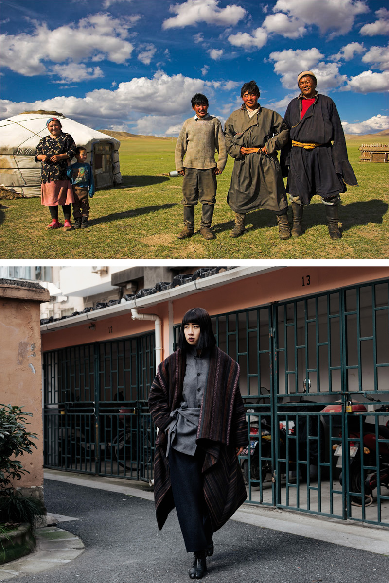 Top: Mongolian herder family; Bottom: ROSEN's 2019 collection