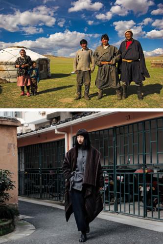 Top: Mongolian herder family; Bottom: ROSEN's 2019 collection